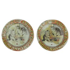 """Vintage Ohio Art Company ABC Child's 4 1/4"""" Plates With Kittens"""