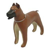 Vintage 1960's Stuffed Leather Mid Century Modern Dog