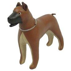 Vintage 1960's Stuffed Leather Mid Century Modern Dog
