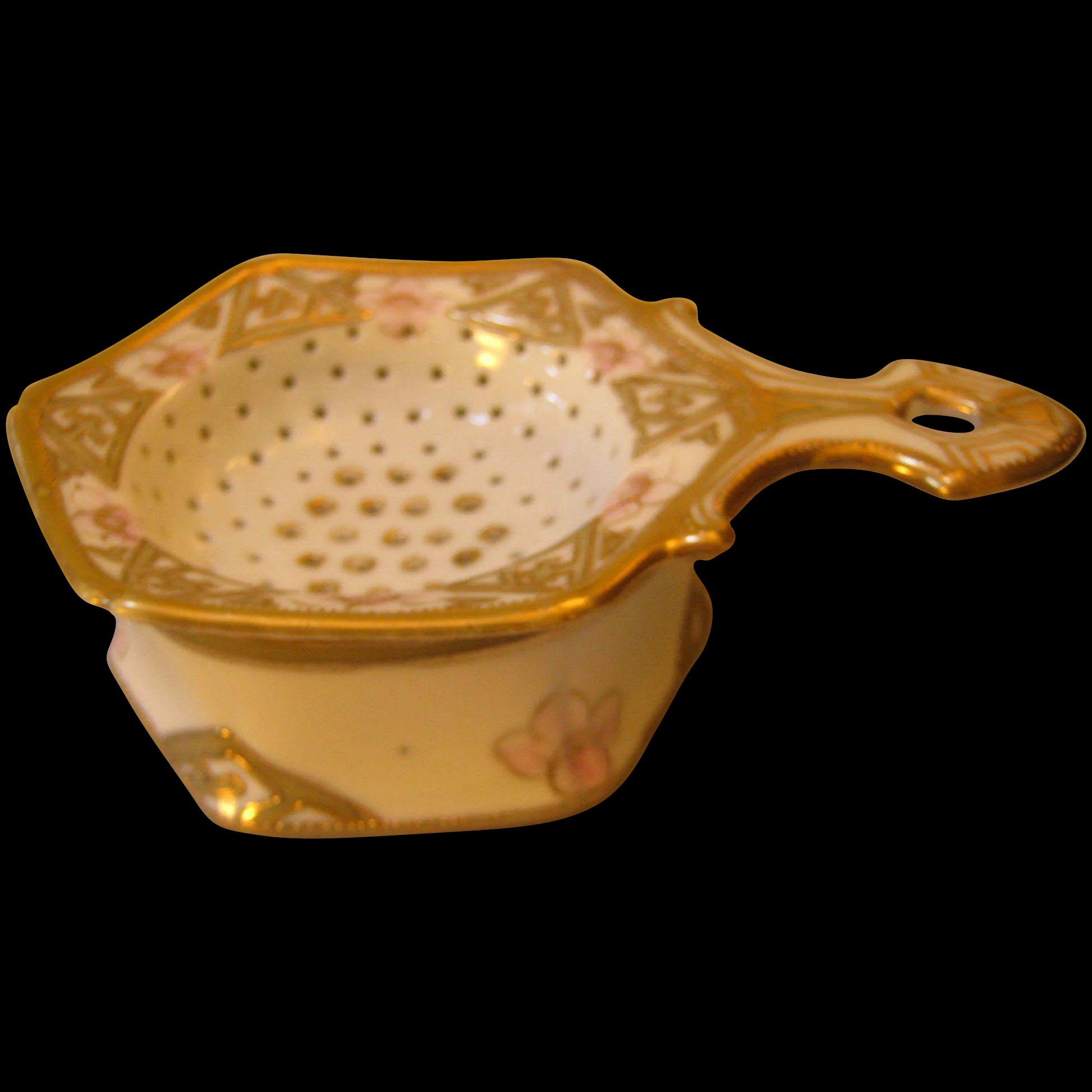 Hand painted nippon tea strainer gold pink roses sold ruby lane click to expand reviewsmspy