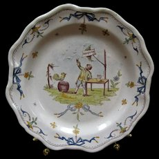 Antique Faience Plate - Rampono - Signed E F - Red Tag Sale Item