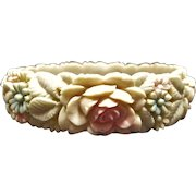 Beautiful Molded Tinted Celluloid Flower Bracelet Signed Japan