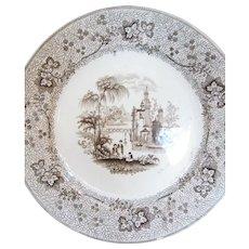 1860 Pair Of Longport Brown Transferware Plates - Nonpareil - T J Mayer