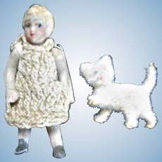 Adorable TINY Carl Horn Bisque Doll & Pet Kitty Cat