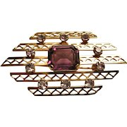 Van Dell 12KT Gold Filled Lattice Style Brooch / Pin W/ Amethyst Glass Stones
