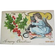 Unusual Victorian Christmas Post Card - Girl & Cat