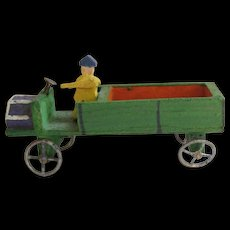 Tiny Erzgebirge Wood Truck & Driver For Doll House