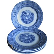 "4 Wedgwood & Co Antique Blue & White ""Lozere"" Plates"