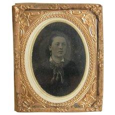 Vintage Tintype Attractive Woman Gilt Metal Frame