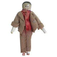 Vintage Wood Peg Boy Doll In Suit