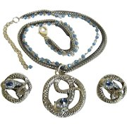 Enchanting Gold Tone Snake Necklace & Earrings