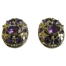 Vintage Signed Hollycraft Faux Amethyst Gold Tone Clip Earrings