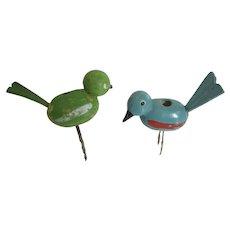 Miniature Carved German Birds Erzgebirge Candle Holders