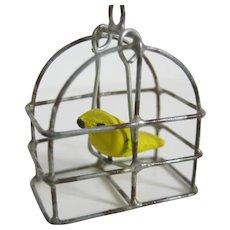 Miniature Doll House Bird In Bird Cage