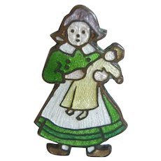 Vintage Guilloche Enamel Pin - Dutch Girl W/ Doll
