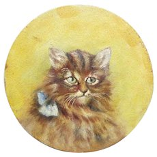 Vintage Hand Painted Portrait Of Cat With Bow