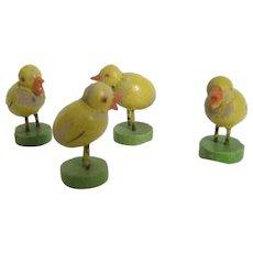 Set Of 4 Miniature Erzgebirge Chicks - Signed Germany