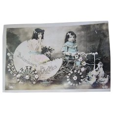 RPPC French Easter Card Children w/ Elaborate Egg Cart - France