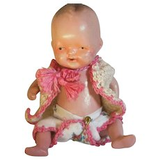 Little Composition Baby Doll In Original Crocheted Sweater & Diaper