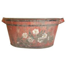 Gorgeous Hand Painted Tole Toleware  Bucket - Flowers