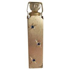 Sterling Silver Art Deco Perfume Bottle - Whirling Stars Blue Stones