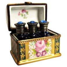 ae85dfabce Exquisite Miniature French Limoges Box - Trunk W  3 Perfume Bottles France.  Vintage Goods