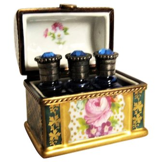 Exquisite Miniature French Limoges Box  -  Trunk W/ 3 Perfume Bottles France