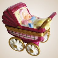 Limoges France Miniature Baby In Buggy / Carriage Trinket Box
