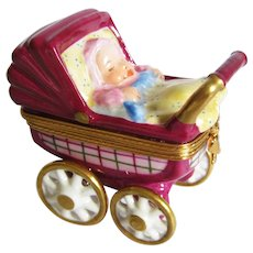 Limoges France Miniature Baby Buggy / Carriage Trinket Box