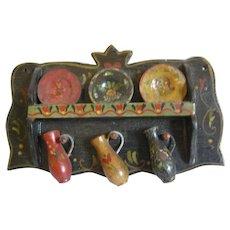 Miniature Folk Art Doll House Painted Woodenware Plate Rack