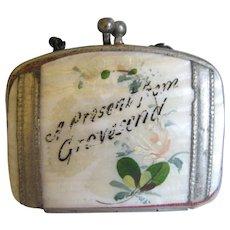 "Miniature Doll Purse ""Present From Gravesend"""