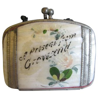"Miniature Doll Purse ""Present From Gravesend"""