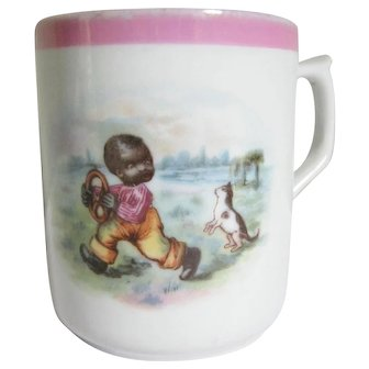 Darling Child's Porcelain Mug  - African American Black Boy & Kitty Germany