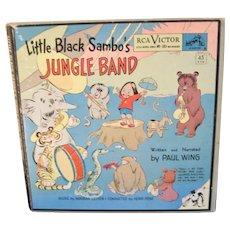 """Kid's Book ~ """"Little Black Sambo's Jungle Band"""" Complete W/ 45 Records"""
