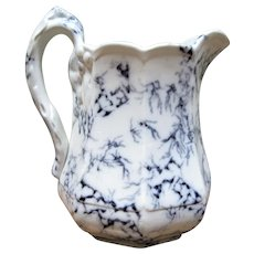 Early Flow Blue Ironstone Pitcher - Mulberry Cracked Ice Pattern