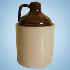 Vintage Two Tone  Miniature Jug W/ Applied Handle For Dollhouse