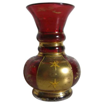 Exquisite Miniature Bohemian Enameled Glass Vase For Doll House