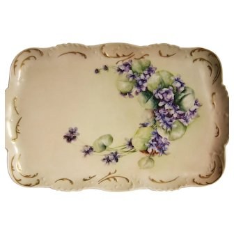 Vintage Limoges Tray Hand Painted Violets