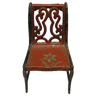 Miniature Iron Metal Doll House Chair w/ Stenciled Flower