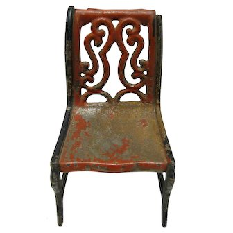 Miniature Cast Iron Chair Red Paint For Doll
