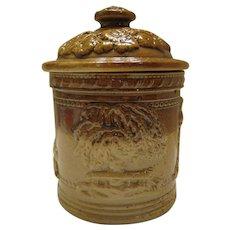 Beautiful Doll Size Salt Glazed Stoneware Jar w/ Lid