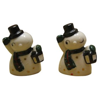 Pair Of Vintage Snowman Place Card Holders - Japan By Commodore