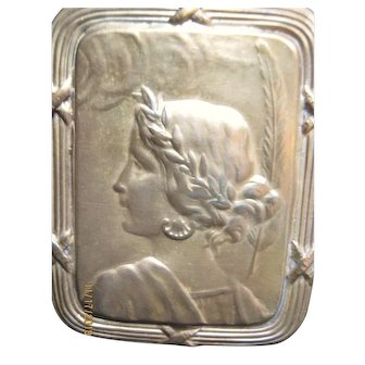 Miniature Repousse Metal Plaque Woman For Doll House