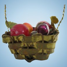 Miniature Dollhouse Metal Basket Glass Fruit  Ornament
