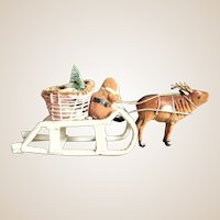 Vintage Christmas Santa Sleigh & Reindeer -