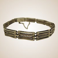 Sterling Silver Machine Age Bracelet - Tank Track Design - Germany