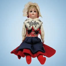 Beautiful Bisque & Cloth Doll In  Scandinavian Costume