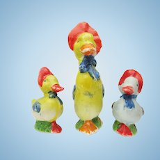 Nursery Rhyme Bisque Ducks In Bonnets For Doll House
