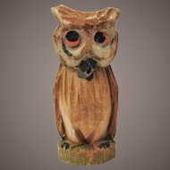 Tiny Sweet Hand Carved Owl For Doll House