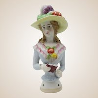 Colorful Half Doll W/ Large Feathered Hat